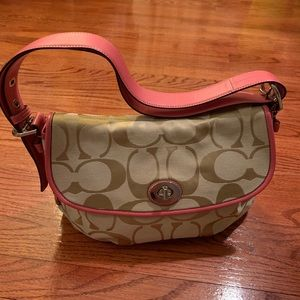 Coach Bag with Tan Pattern and Pink Trim